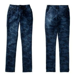 Tractr Camouflage Camo Blue Skinny Mid Rise Jeans